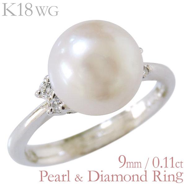 リング 指輪 パール オーロラ花珠真珠 ダイヤモンド リング 18金 K18ホワイトゴールド 9mm 0.11ct 指輪 レディース ダイヤ プレゼント 贈答 ジュエリー 保証書付 送料無料 普段使い
