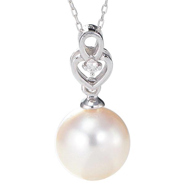 ペンダントネックレス ハート型 あこや本真珠 8.5mm 0.01ct ダイヤモンド K18ホワイトゴールド レディース 冠婚葬祭 保証書付