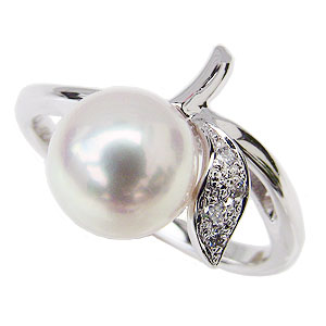 母の日 2019 ブライダル リング パール 指輪 8mm あこや真珠パールリング ホワイトゴールド ダイヤモンド 4石 0.04ct