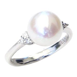 パールリング レディース 真珠の指輪 あこや本真珠 ダイヤモンド ホワイトゴールド 8.5mm アコヤ あこや 真珠の指輪 パールリング 6月誕生石 ジュエリー 贈答 冠婚葬祭 結婚 ブライダル 入学 入園 卒業 卒園 保証書付 送料無料