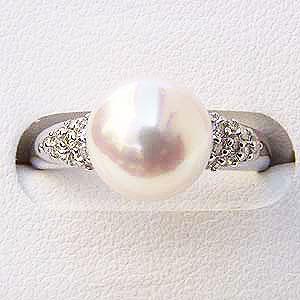 パールリング レディース 真珠の指輪 あこや本真珠 K10WG ダイヤモンド ピンクホワイト系 ホワイトゴールド 20石0.20ct 真珠の径8.0mm 指輪 真珠パール 贈答 プレゼント 冠婚葬祭 結婚 ブライダル 入学 卒業 保証書付 ケース付 送料無料
