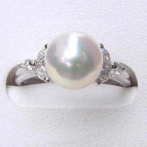 リング パール 指輪 あこや 真珠 あこや真珠パール 18金 K18WG ホワイトゴールド リング ダイヤモンド ジュエリー レディース 冠婚葬祭 普段使い