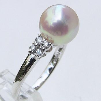 母の日 2019 あこや本真珠 リング ダイヤモンド 0.17ct パール ピンクホワイト系 9mm プラチナ 指輪(アコヤ本真珠)