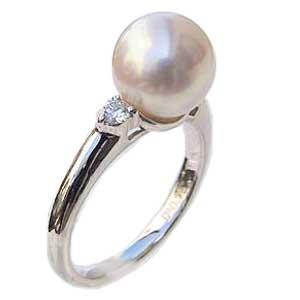 パールリング レディース 真珠の指輪 あこや本真珠 花珠真珠 ダイヤモンド プラチナ 2石0.16ct 9mmアコヤ 真珠の指輪 記念日 6月誕生石 冠婚葬祭 プレゼント 品質保証書付