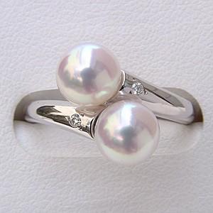 入学 入園 6月誕生石 リング パール 指輪 あこや真珠パールリング ホワイトゴールド ダイヤモンド
