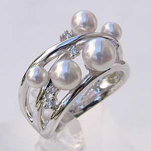 パールリング レディース 真珠の指輪 あこや本真珠 ダイヤモンド 18金 K18WG ピンクホワイト系 3.75-6mm 指輪 ラウンド形 アコヤ あこや 真珠の指輪 リング ジュエリー 贈答 冠婚葬祭 結婚 ブライダル 入学 卒業 保証書付 ケース付 送料無料 普段使い