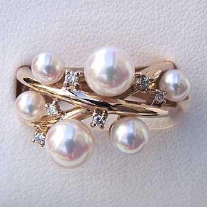 あこや本真珠 18金 K18PG リング ダイヤモンド パール ピンクホワイト系 3 5 6mm ラウンド形 指輪 レディース 冠婚葬祭 普段使い カジュアルPXikZu