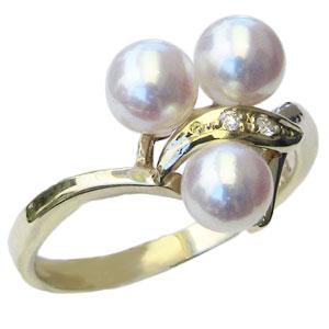 パールリング レディース 母の日 あこや本真珠 あこや本真珠 ダイヤモンド K10 ゴールド ピンクホワイト系 5-5.5mmアコヤ 真珠の指輪 記念日 6月誕生石 冠婚葬祭 プレゼント 品質保証書付