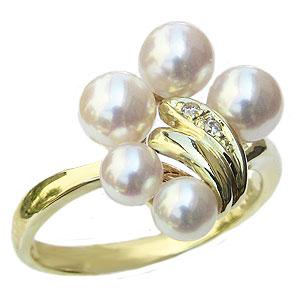 パールリング レディース 真珠の指輪 あこや本真珠 あこや本真珠 ダイヤモンド K10 ゴールド ピンクホワイト系 4.5-5.5mmアコヤ 真珠の指輪 記念日 6月誕生石 冠婚葬祭 プレゼント 品質保証書付