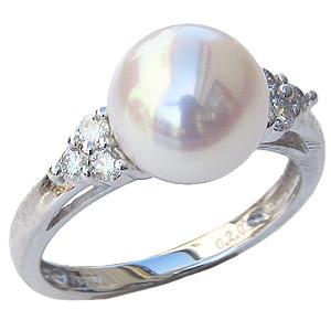 6月誕生石 リング パール 指輪 あこや 真珠 あこや真珠パール ホワイトゴールド リング ダイヤモンド レディース 冠婚葬祭