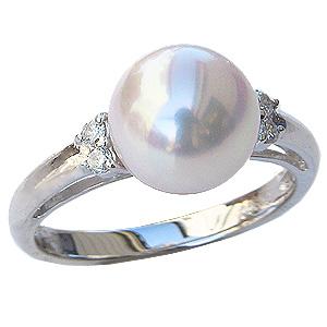 パールリング レディース 真珠の指輪 あこや真珠 ダイヤモンド ホワイトゴールド パール 6月誕生石 贈答 プレゼント 冠婚葬祭 結婚 ブライダル 入学 入園 卒業 卒園 保証書付 ケース付 送料無料