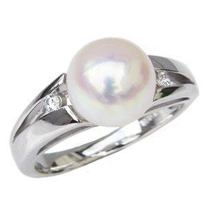 パールリング レディース 真珠の指輪 あこや真珠 ダイヤモンド ホワイトゴールド アコヤ あこや 真珠の指輪 リング 6月誕生石 ジュエリー 贈答 プレゼント 冠婚葬祭 結婚 ブライダル 入学 卒業 保証書付 ケース付 送料無料