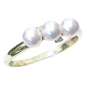 パールリング レディース 真珠の指輪 あこや本真珠 ダイヤモンド K10 ゴールド ピンクホワイト系 0.02ct 4mmアコヤ 真珠の指輪 記念日 冠婚葬祭 プレゼント 品質保証書付 カジュアル