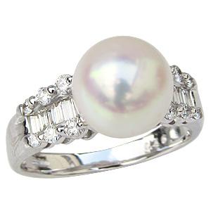 母の日 2019 花珠真珠 パー リング あこや本真珠 大珠9mm 花珠 指輪 純プラチナ PT999 ダイヤモンド