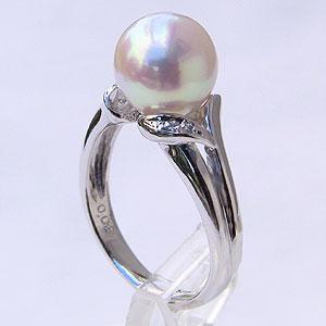 パールリング レディース 真珠の指輪 あこや本真珠 ダイヤモンド PT900プラチナ ピンクホワイト系 0.03ct 9mmアコヤ 真珠の指輪 記念日 6月誕生石 冠婚葬祭 プレゼント 品質保証書付