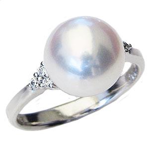 パールリング レディース 真珠の指輪 あこや真珠 ダイヤモンド K10ホワイトゴールド 6月誕生石 贈答 プレゼント 冠婚葬祭 結婚 ブライダル 入学 入園 卒業 卒園 保証書付 ケース付 送料無料