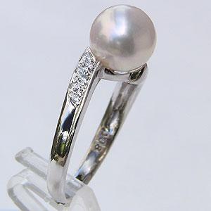 あこや本真珠 リング ダイヤモンド 0.08ct パール ピンクホワイト系 8mm 18金 K18WG ホワイトゴールド 指輪アコヤ本真珠 レディース 冠婚葬祭 普段使い