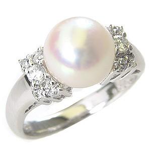 花珠真珠 パール リング 真珠 指輪 純プラチナPT999 あこや本真珠 ダイヤモンド ブライダル リング