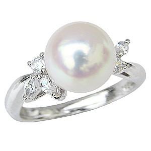 花珠真珠 パールリング 真珠指輪 あこや本真珠 大珠 9mm 純プラチナ PT999 ダイヤモンド 0.21ct