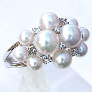 パールリング レディース 真珠の指輪 あこや真珠 ダイヤモンド K10ホワイトゴールド アコヤ あこや 真珠の指輪 リング 6月誕生石 ジュエリー 贈答 プレゼント 冠婚葬祭 結婚 ブライダル 入学 卒業 保証書付 ケース付 送料無料
