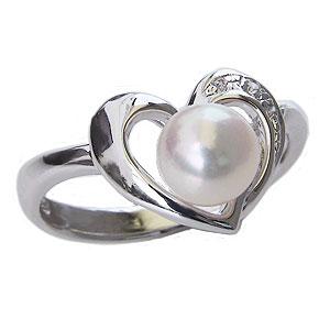 パールリング レディース 真珠の指輪 あこや真珠 ダイヤモンド K10ホワイトゴールド 3石0.02ct 6mm 6月誕生石 贈答 プレゼント 冠婚葬祭 結婚 ブライダル 入学 入園 卒業 卒園 保証書付 ケース付 送料無料