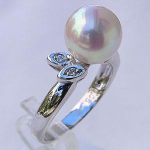 あこや本真珠 リング ダイヤモンド 0.05ct パール ピンクホワイト系 9mm PT900 プラチナ 指輪アコヤ本真珠 レディース 冠婚葬祭 カジュアル