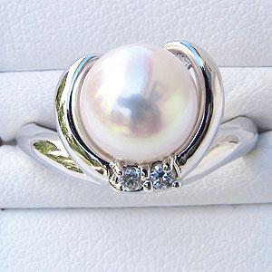 6月誕生石 リング パール 指輪 あこや 真珠 あこや真珠パール リング パールリングホワイトゴールド ダイヤモンド レディース 冠婚葬祭