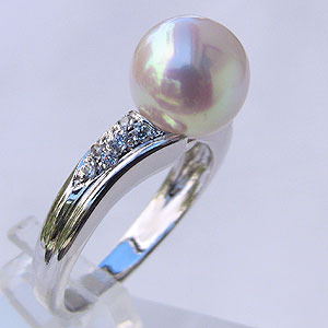 あこや本真珠 リング ダイヤモンド 0.09ct パール ピンクホワイト系 9mm 18金 K18WG ホワイトゴールド 指輪アコヤ本真珠 レディース 冠婚葬祭 普段使い カジュアル