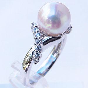 あこや本真珠 リング ダイヤモンド 0.23ct パール ピンクホワイト系 9mm プラチナ 指輪アコヤ本真珠 レディース 冠婚葬祭