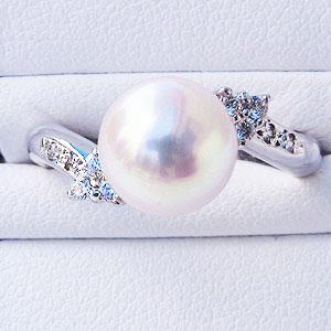 6月誕生石 リング パール 指輪 あこや 真珠 あこや真珠パール リング パールリング K10ホワイトゴールド ダイヤモンド レディース 冠婚葬祭