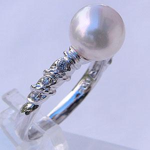 母の日 2019 あこや本真珠 リング ダイヤモンド 0.04ct パール ピンクホワイト系 8mm PT プラチナ 900 指輪(アコヤ本真珠)