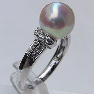入学 入園 あこや本真珠 リング ダイヤモンド 0.14ct パール ピンクホワイト系 9mm プラチナ 指輪(アコヤ本真珠)
