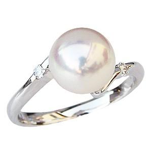 パールリング レディース 真珠の指輪 あこや真珠 ダイヤモンド ホワイトゴールド 6月誕生石 贈答 プレゼント 冠婚葬祭 結婚 ブライダル 入学 入園 卒業 卒園 保証書付 ケース付 送料無料