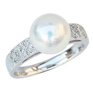 冠婚葬祭 0.08ct PT900 カジュアル パール あこや本真珠 指輪アコヤ本真珠 9mm プラチナ ピンクホワイト系 レディース リング ダイヤモンド