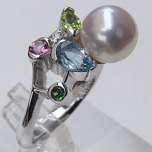 パールリング レディース 真珠の指輪 あこや真珠 ダイヤモンド 18金 K18WGホワイトゴールド ピンクホワイト系 9mm の指輪 リング 6月誕生石 贈答 プレゼント 冠婚葬祭 結婚 ブライダル 入学 卒業 保証書付 ケース付 送料無料 普段使い