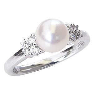 パールリング レディース 真珠の指輪 あこや本真珠 ダイヤモンド PT900プラチナ ピンクホワイト系 8石計0.18ct 真珠の直径7mm 指輪 アコヤ あこや 真珠の指輪 ジュエリー 贈答 冠婚葬祭 結婚 ブライダル 入学 保証書付 ケース付 送料無料