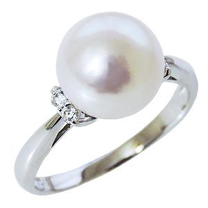 パールリング レディース 母の日 あこや本真珠 キュービックジルコニア silver シルバー 9mm 真珠指輪 お試しリング 6月誕生石 ケース付 ギフト プレゼント 品質保証書付 無料ラッピング 送料無料