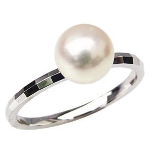 パールリング レディース 真珠の指輪 あこや本真珠 PT900プラチナ 7mm 指輪 デザインカットリング シンプル アコヤ あこや 真珠の指輪 リング ジュエリー 贈答 プレゼント 冠婚葬祭 結婚 ブライダル 入学 卒業 保証書付 ケース付 送料無料