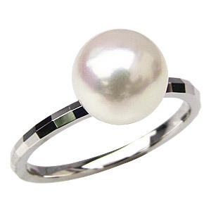 パールリング レディース 真珠の指輪 あこや本真珠 PT900プラチナ 8mm 指輪 デザインカットリング シンプル アコヤ あこや 真珠の指輪 リング ジュエリー 贈答 プレゼント 冠婚葬祭 結婚 ブライダル 入学 卒業 保証書付 ケース付 送料無料