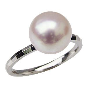 パールリング レディース 真珠の指輪 あこや本真珠 PT900プラチナ 9mm 真珠指輪 デザインカットリング シンプル アコヤ あこや 真珠の指輪 リング ジュエリー 贈答 プレゼント 冠婚葬祭 結婚 ブライダル 入学 卒業 保証書付 送料無料