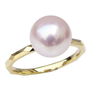 アコヤ本真珠 シンプル 9ミリ パール リング デザインカット 真珠 指輪 K18 ゴールド