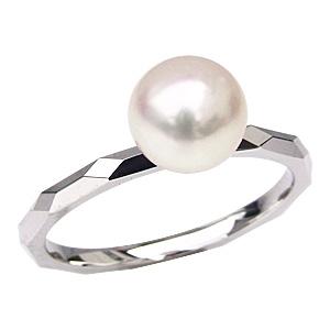 プラチナ 7ミリ あこや本真珠 シンプル パール リング 指輪 PT900 デザインカットリング レディース 冠婚葬祭