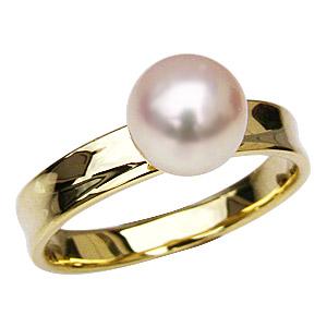 母の日 2019 アコヤ本真珠 シンプル 7ミリ パール リング デザインカット 指輪 K18 ゴールド 真珠 ホワイトピンク系