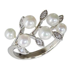 パールリング レディース 真珠の指輪 ベビーパール ダイヤモンド プラチナPT900 真珠指輪 マルチプル リーフ 葉 記念日 6月誕生石 パーティー 真珠婚 ギフト 誕生日プレゼント 送料無料 カジュアル