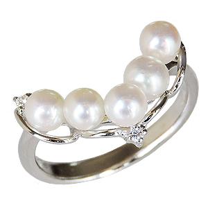 パールリング レディース 真珠の指輪 ベビーパール ダイヤモンド ホワイトゴールド 真珠指輪 Vライン マルチプル 記念日 6月誕生石 真珠婚 ギフトパーティー 誕生日プレゼント 送料無料 カジュアル