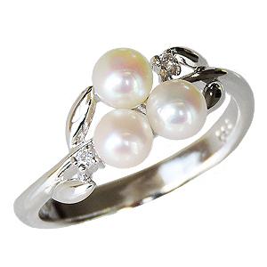 リング 指輪 パールリング 真珠指輪 パール 真珠 ベビーパール ダイヤモンド マルチプル 6月誕生石 ホワイトゴールド 送料無料 真珠婚 誕生日プレゼント クリスマスプレゼント ホワイトデー 記念日 ギフトパーティー 2次会