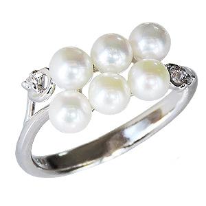 パールリング レディース 真珠の指輪 ベビーパール ダイヤモンド ホワイトゴールド 真珠指輪 マルチプル 記念日 6月誕生石 パーティー 真珠婚 ギフト プレゼント 誕生日プレゼント 送料無料 カジュアル