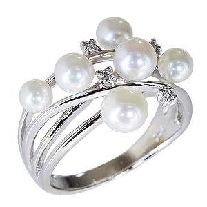 パールリング レディース 真珠の指輪 ベビーパール ダイヤモンド プラチナ 真珠指輪 マルチプル 記念日 6月誕生石 パーティー 真珠婚 ギフト プレゼント 誕生日プレゼント 送料無料 カジュアル