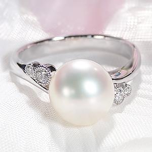 パールリング レディース 真珠の指輪 花珠あこや本真珠 ダイヤモンド PT900プラチナ PT900 9mm 大珠 パーティー 冠婚葬祭 結婚式 プレゼント 品質保証書付