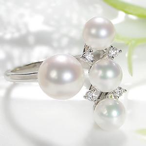 パール リング パールリング レディース 真珠の指輪 あこや本真珠 ダイヤモンド 18WG 6-6.5mm 真珠リング ダイヤ 8-8.5mm 18金 C型リング フォークリング 可愛い K18ホワイトゴールド 18K 記念日 6月誕生石 ギフト 品質保証書 送料無料 冠婚葬祭 普段使い カジュアル